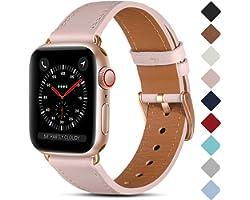 CeMiKa Bracelet en Cuir Compatible avec Apple Watch Bracelet 38mm 40mm 41mm 42mm 44mm 45mm, Cuir Véritable Bande Compatible a