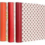 Lot de 3 Albums Photos Epoca Tradtionnel 60 pages crème, (Orange, Rouge, Bordeaux)