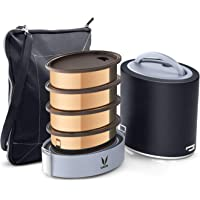 Vaya Tyffyn Jumbo Black Copper-Finished Stainless Steel Lunch Box with Bagmat, 1300 ml, 4 Containers, Black
