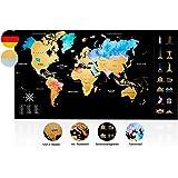 Inventy® Mapa świata do zdrapywania w akwarelowym wzornictwie – mapa świata do zdrapywania w języku niemieckim (43,5 x 80 cm)