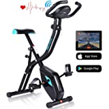 ANCHEER Exercise Folding Bike,Stationary Cycle Indoor Upright Bike,Compact Magnetic Recumbent Bike with 10 Level Resistance & App Program & Tablet Stand & Comfortable Seat