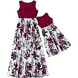 Vestido de Cuello Redondo sin Mangas de Verano para Madre e Hija con Estampado de Flores de Padres e Hijos, Elegante Vestido