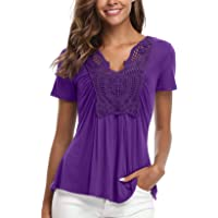 MISS MOLY Women's Gypsy Top Short Sleeve V Neck Summer Tunic Tops Ruched Front T Shirt