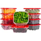 Ensemble de boîtes de Rangement Alimentaires avec couvercles Rouge - À Usage Multiple - Lot de 10 récipients x 400 ml - Alime