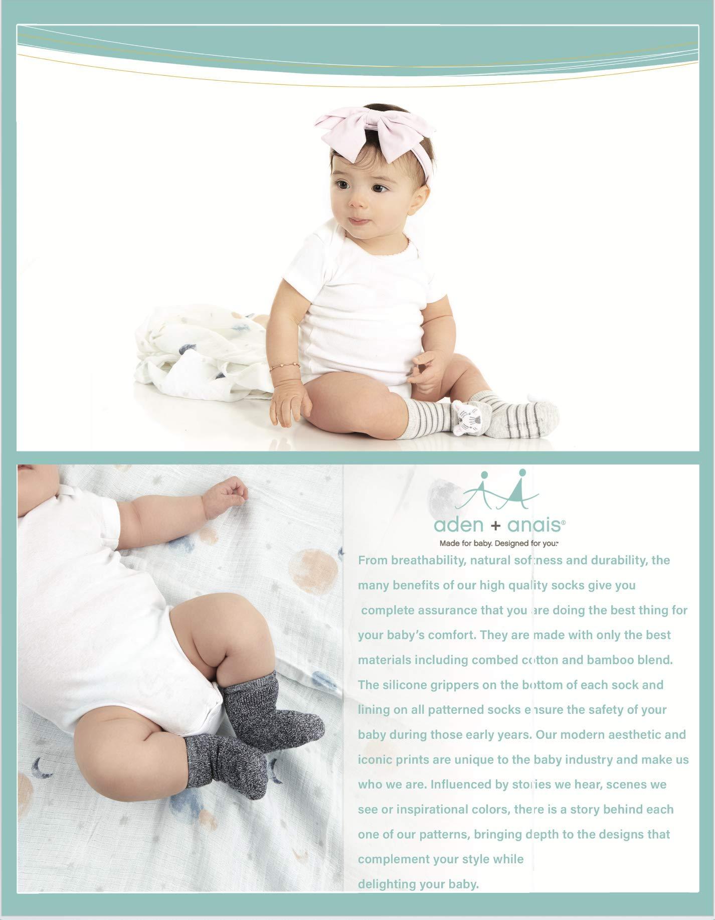 Aden & Anais - Calcetines de algodón peinado para bebé, diseño de estrellas, 6 unidades 5