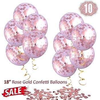 """Hoshin Palloncini di coriandoli Oro Rosa, Palloncini Grandi da 18 """"(45,7 cm) Palloncini in Lattice Trasparenti Rosa Dorato per Matrimoni, proposte, Decorazioni per Feste di Compleanno (10 Pezzi)"""
