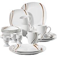 VEWEET   39 Bonnie  39  Servizio di tavola in Porcellana da 20 Pezzi per 8 Persone   con 8 portauova  4 Tazze di caff egrave  350ml  4 Ciotole di Cereali  4 Piatti da Dessert e 4 Piatti