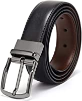 Coovs Mens Reversible Belt For Men Dress of One-Piece Grain Leather 1 3/8, One Belt Reverse for 2 Colors