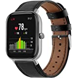 Turnwin Leather WatchBand Compatible with Huami Amazfit GTS & Amazfit GTR 42mm Smart Watch Genuine Leather Replacement 20MM S