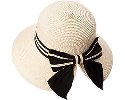 Comhats Faltbarer Sonnenhut Strohhut mit Sonnenschutz breite Krempe Damen