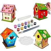 KUWAN Mangeoire à oiseaux pour enfants - Kit de 4 pièces - À peindre - Pigment peint - Kit inachevé - Construire et…