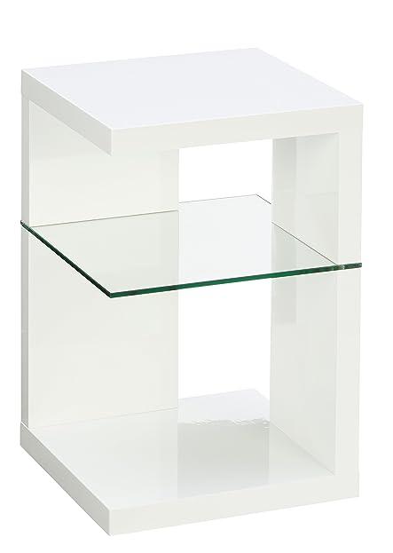 Beistelltisch / Nachttisch Domingo, 40x60x40cm, weiß Hochglanz ...