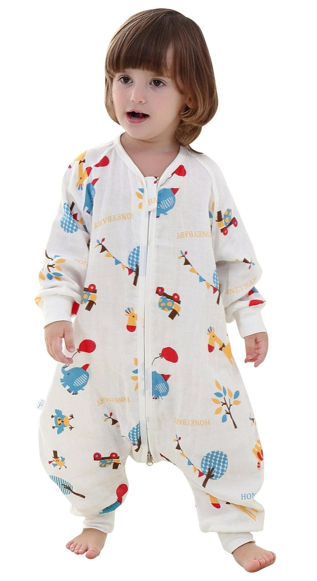 Happy cherry Saco de Dormir para Bebé de Verano Infantil Bolsa de Dormir sin Mangas Ligero con Dos Aberturas Slepping Bag Baby Transpirable con Patas