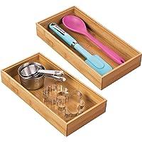 mDesign rangement à tiroir en bambou pour la cuisine (lot de 2) – séparateur de couverts modulable pour l'argenterie, la…