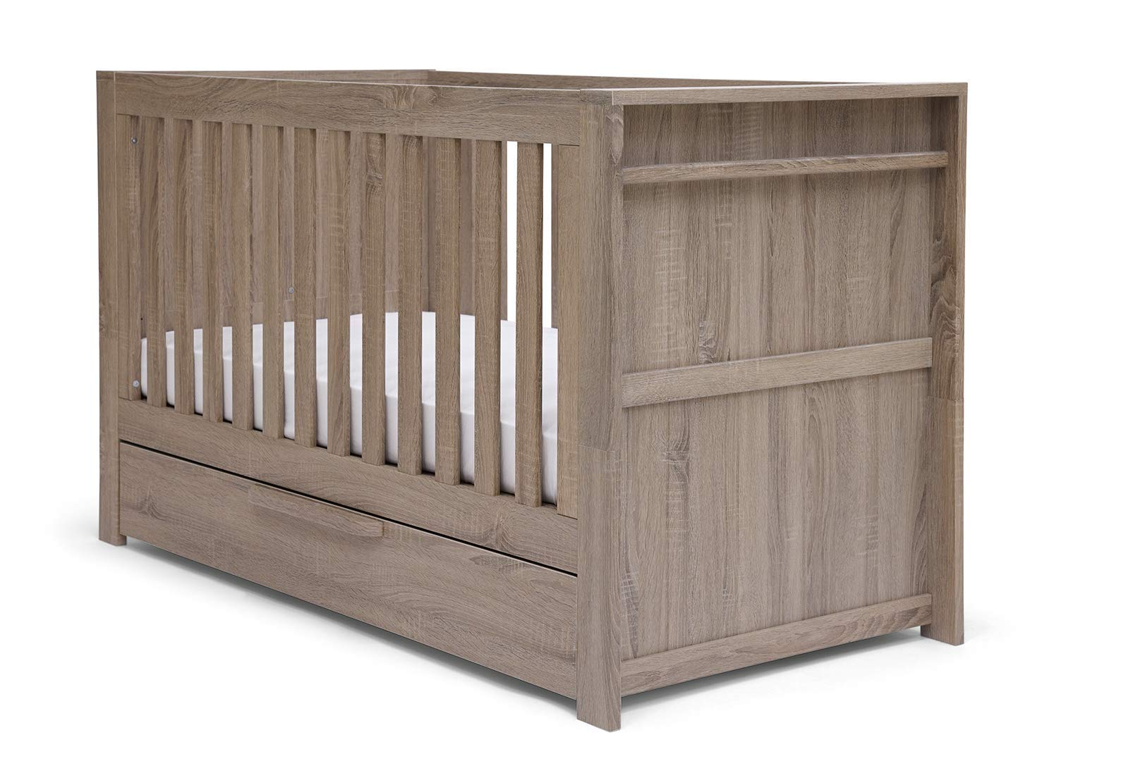 Mamas & Papas Franklin Cot/Toddler Bed Grey Wash Mamas & Papas SAVE £49 - compared to buying items individually COT BED – The 3-in-1 cot bed has 2 base positions and converts into a toddler bed and day bed to grow with your child and there's a handy draw for extra storage. DRESSER CHANGER – Provides you all of your nursery storage needs with 3 soft close draws giving you plenty of space. 1