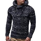 Maxmoda Sudadera con capucha para hombre, corte ajustado, sudadera con capucha, jersey de punto de invierno