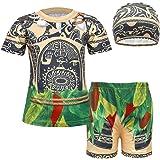 Jurebecia Moana Maui 3pcs Niños Natación Rashguard Traje de baño Top + Natación Shorts Troncos con Gorra Traje de baño Ropa d
