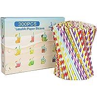 LessMo 300 Pcs Pailles Papier Réutilisables, Paille Coloré pour Mason Jar, Verre, Anniversaire, Mariage, Noël, Douche de…