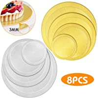 WisFox 8 PCS Round Cake Boards, Cardboard Base Cake Circle Decorating Base Recyclable Stackable Cake Tart Pads 6 8 10 &12 Inch Diameter-Silver & Gold (3mm)