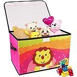 Redmoo Boite de Rangement Enfant, coffre à jouets pour chambres d'enfants, panier de rangement pliable de dessin animé avec c