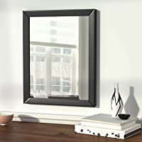 A G CRAFTS Flat Decorative Wood Wall Mirror (12 x 18 inch, Black)
