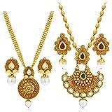 Sukkhi Splendid Pearl Gold Plated Wedding Jewellery Kundan Long Haram Necklace Set Combo For Women (388CB1400)