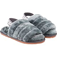 SunFocus Fluffy Slippers Women Cozy Open Toe Furry Sliders with Strap Soft Memory Foam Sole Shoes for Indoor Outdoor