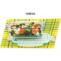 Signoraware Lock 'N' Store Glass Container Rectangular, 1040 ml, Transparent