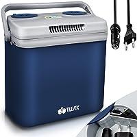 tillvex Kühlbox elektrisch 32L   Mini-Kühlschrank 230 V und 12 V für KFZ Auto Camping   kühlt & wärmt   ECO-Modus (Blau)