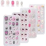 SAVITA 96 Pièces 4 Boîtes Faux Ongles pour Enfants Pré-Colle Colorée Couverture Complète Faux Ongles Courts Faux Ongles pour