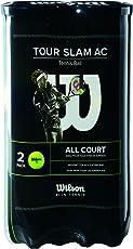 Wilson Tennisbälle, Tour Slam All Court, 2 Dosen mit je 4 Bällen, für alle Beläge, gelb, WRT110102
