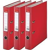 Esselte, Essentials, Pack de 3 Classeurs à levier, Rouge, Dos 50mm, A4, PP, 624296