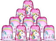 10pcs/Set Unicorn Bags for Unicorn Party Supplies Unicorn Drawstring Shoulder Backpack Bag Bulk for Girls Kids Children for B
