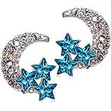 Kami Idea Orecchini, Luna Stellare, Cristallo Blu di Swarovski, Elegante Portagioie, Regalo di Natale