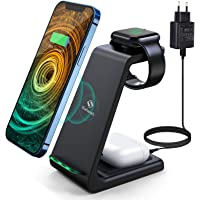 Saferell Wireless Charger 3 in 1 Induktive Ladestation Kabelloser Ladegerät mit Adapter, Kompatibel für iPhone 12/11 Pro…
