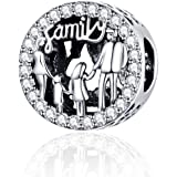 Charm in argento sterling 925, motivo: famiglia di 4 persone, da donna, adatto per braccialetti e collane Pandora Stile…