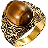 JewelryWe Anello da Uomo Donna Unisex in Acciaio Inossidabile e Occhi di Tigre Colore Oro