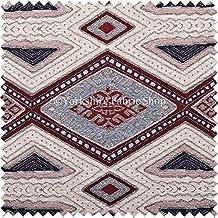 Exclusiva tela crema vino azul color morado y negro azteca patrón geométrico Tejido de Felpilla tela de tapicería perfecto para muebles muebles Material