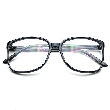 wayfarer large uj8h  Large Oversized Wayfarer Glasses Clear Lens Thin Frame Nerd Glasses  Black: Amazoncouk: Clothing