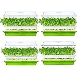 Huntfgold 4 Stück Seed Sprouter Tray Keimschale für Sprossen BPA-freies Samen Keimung Tablett extra kleines Loch kein Papier erforderlich mit Deckel für Garten Home Office