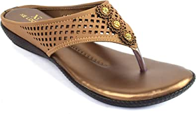 XE Looks Copper Lazer Comfort Slippers for Women