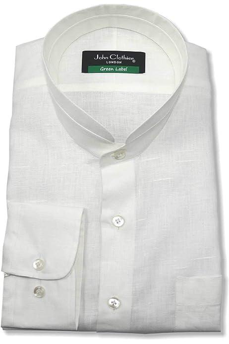 WhitePilotShirts Nehru - Camisa de manga corta para hombre ...