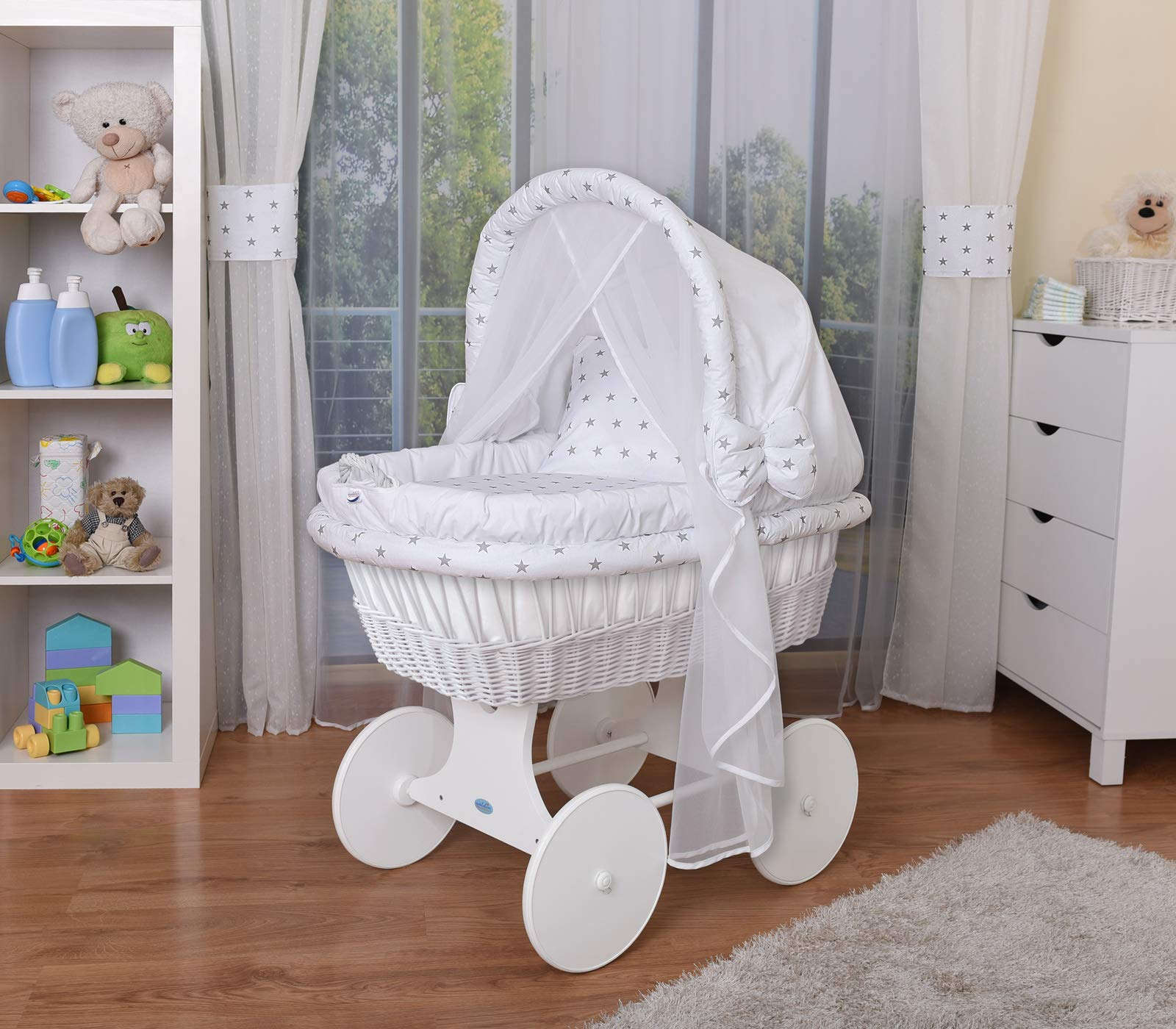 WALDIN Baby Wicker Cradle,Moses Basket,44 Models Available,White Painted Stand/Wheels,Textile Colour White/Grey Stars  For more models and colours on Amazon click on WALDIN under the title Bassinet complete with bedding and stand Certified to safety standard EN 1130-1/2 1