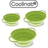 Coolinato Sieb Faltbar aus Silikon   Platzsparend, leicht zu Reinigen und Spülmaschinenfest Verwendet als Nudelsieb, Abtropfsieb, Durchschlag oder Küchensieb   3er Set (16, 20 und 24cm) in Grün