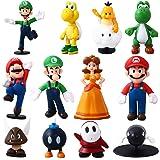Herefun 12pcs/Set Super Figuras, Super Bros Juguetes Modelo, Personajes de Super Bros, Figuras de Luigi Juguete de PVC, Decor