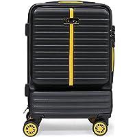 Hard Bowl Trolley Valigia Roll Case Valigia Twin Wheels Valigia Set con Ruote Girevoli & TSA Lock 20 pollici (M, Black)
