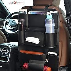 AllExtreme Car Auto Seat Back PU Leather Multi Pocket Organizer Bag with iPad Mini Holder (Black, Pack of 1)