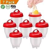 AMEU Cuit Oeufs, 7 Cuit Pocheuse Silicone Oeuf, Easy Egg Cooker Coquetier Gel de Silice de Qualité Alimentaire sans BPA, Faire Bouillir des Oeufs sans Le Coque