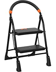 Parasnath Black Heavy Folding Ladder With Wide Steps Milano 2 Steps 2.7 Ft Ladder (20 Year Warranty*Made In India)