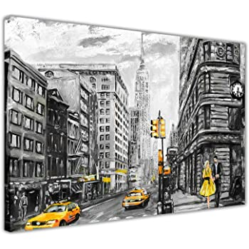 711ef719320 Yellow New York City Oil Painting Re-Print on Framed Canvas Wall Art Prints  Home